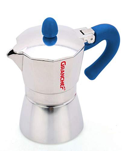 Granchef Cafetera de aluminio para 2 tazas, modelo Moka Cafe Espresso con...