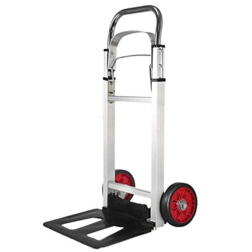 Aluminum Alloy Multi-Functional Trolley on Wheels with Anti Puncture Rubber Wheels and 90 kg Capacity,Black Moving Trolley for Cargo Handling Shopping