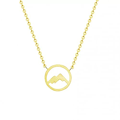 Colgante de collar Collar de acero inoxidable de color dorado con cadena collar de montaña geométrica collares con colgante de círculo pequeño para mujer joyería de viaje Regalo para ella