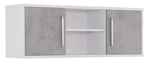 MAJA Möbel System Hängeschrank, Holzwerkstoff melaminharzbeschichtet, ICY-weiß - steingrau, One Size