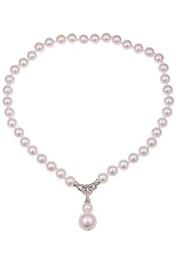 Leslii Perlen-Kette Collier Muschelkern-Perlen Perlenschmuck Damen weiße Halskette kurze Modeschmuck-Kette 48cm in Weiß