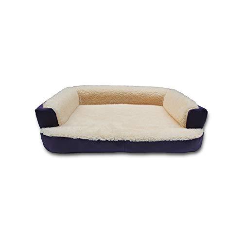 Ventadecolchones - Cama Ortopédica para Perro Deluxe Desenfundable - Grande: 120 x 75 cm - Tela Loneta Premium Azul - 3 cm de Visco + 7 cm de Espuma