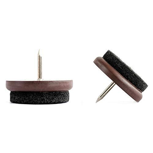 Möbelgleiter - Nagel in Stuhl Filz Sofa Fußpolster (Braun, 32mm, 100 Stück, Freies 2mm Bohrstück)- (Die Abmessungen finden Sie im zweiten Bild) Hochwertige Möbelgleiter - Made in Germany