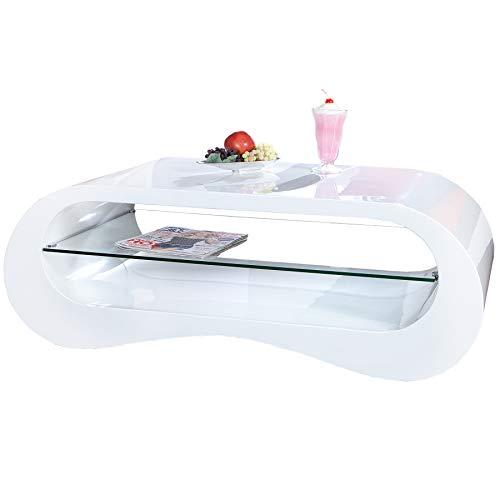 Invicta Interior Moderner Design Couchtisch APPARTMENT 110cm weiß Hochglanz inkl. Glasplatte Wohnzimmertisch
