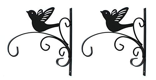 DARO DEKO Metall Wandhaken schwarz Vogel 27,5 x 30cm 2 Stück