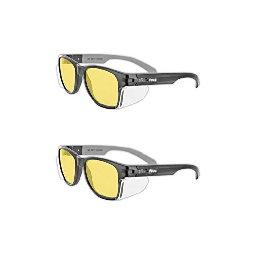 MAGID Y50BKAFA Iconic Y50 Design Series Safety Glasses with Side Shields | ANSI Z87+ Performance, Scratch & Fog Resistant, Reduce Eye Strain & Fatigue, Cloth Case Included, Amber Lens (2 Pair)