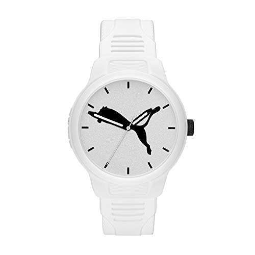PUMA Men's Reset Quartz Watch with Polyurethane Strap, White, 20 (Model: P5012)