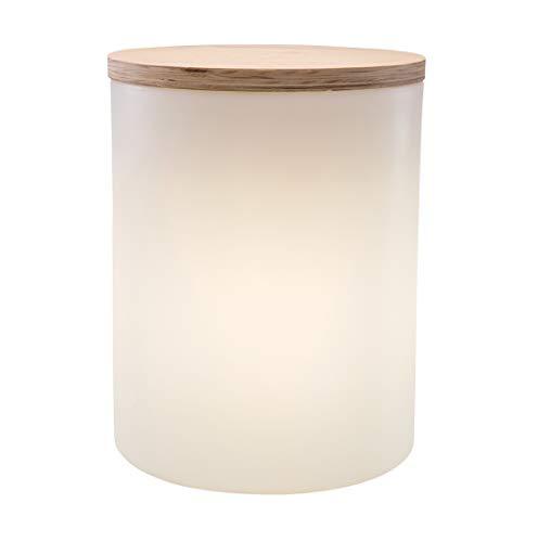 8 seasons design | 4in1 Leuchte Beistelltisch Pflanztopf Hocker Shining Drum (E27, 45cm, Ø 37 cm Holzdeckel, 10l bepflanzbar, für innen & außen, Garten, Terrasse, Balkon, Wohnzimmer, Bad) weiß