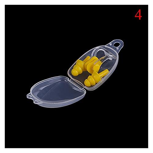 Tapones para los oídos Placas de natación suave Placas de la nariz Caja de cristal Protector Evitación de agua Protección de agua Ear Plug Impermeable Soft Silicone Swim Supplies Seguro y duradero