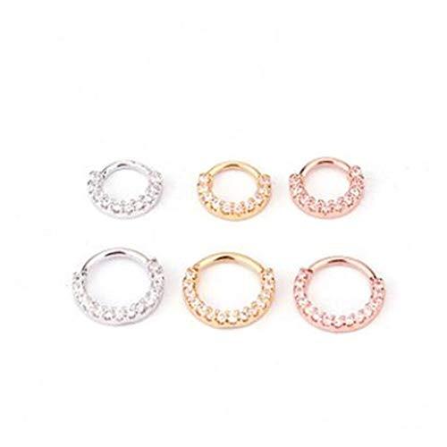 XYBH Timbre de Timbre 1 UNID 6/8 / 10mm CZ Anillo de Nariz Pendiente Espiral Piercing Piercing Joyería Anillo (Main Stone Color : 8mm, Metal Color : Rose Gold 02)