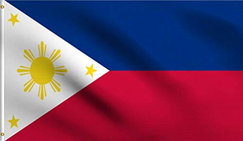 DMSE Philippines Filipino Philippine National Flag 3X5 Ft Foot 100% Polyester 100D Flag UV Resistant (3'X5' Ft Foot)