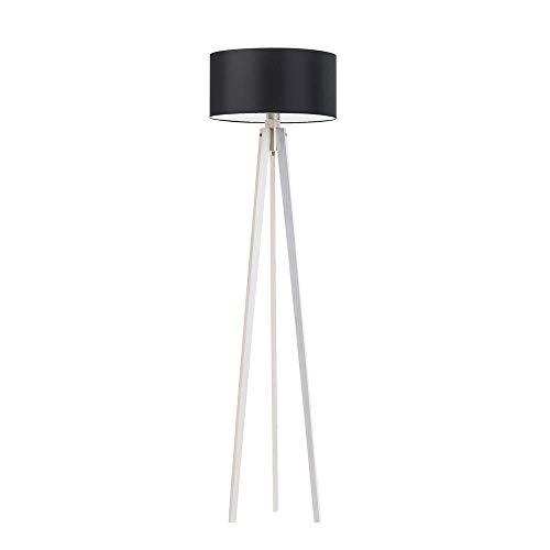 Lámpara de pie Miami de madera, pantalla de lámpara, marco de madera blanca