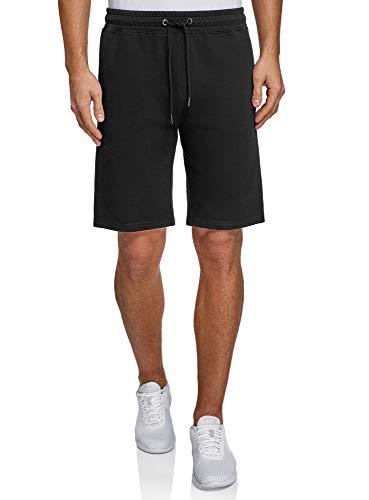 oodji Ultra Hombre Pantalones Cortos de Algodón con Cordones, Negro, XL