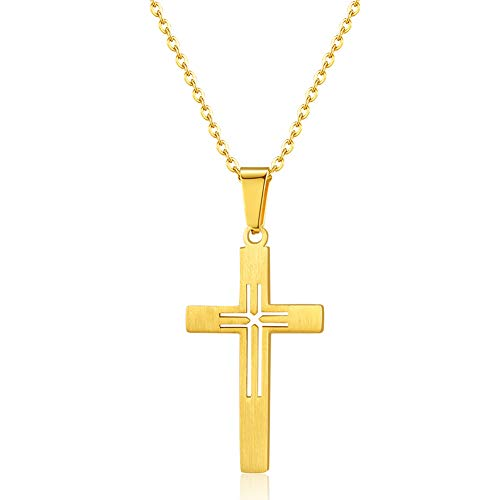 uPrimor Stainless Steel Hollow Cross Pendant Chain Necklace for Men, Women, Gold, 22\' Chain