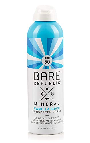 Bare Republic Mineral SPF 50 Sport Sunscreen Spray. Vanilla-Coco Sheer and Strong Water-Resistant Sunscreen Spray, 6 Ounces.