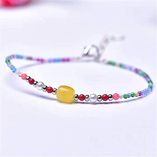 Plztou Natural Spinel Beads Toblet for Women 2mm Hecho a Mano Amber Bead Ajustable Charm Anklet Pulsera Atraer Good Luck Money Girls Beach Foot Tobillo Joyería Regalo