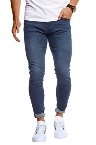 Leif Nelson Herren Jeans Hose Slim Fit Stretch Jeanshose für Männer LN1004 Dunkel Blau W29/L30