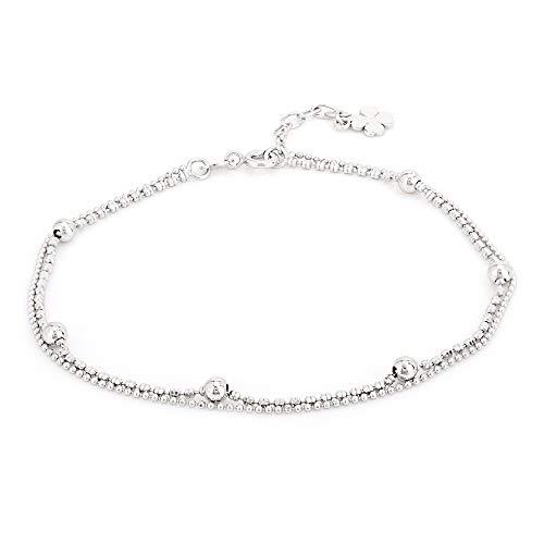 Vanbelle sterling silber schmuck doppel layered perlen-kette fußkettchen mit rhodium-überzug für frauen und mädchen