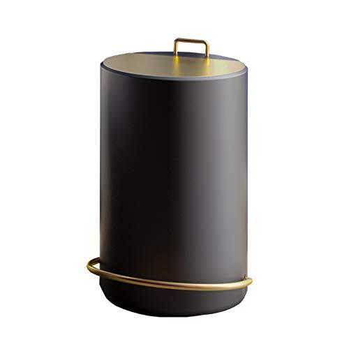 KGDC Mülleimer Licht Luxus-Pedal Trash Can Haushalts-Metall-Mülleimer mit Deckel Kreativität Barrel Form Pedal Müllbehälter, Modern 1.3 Gallon Trash Can Abfalleimer fürs Bad
