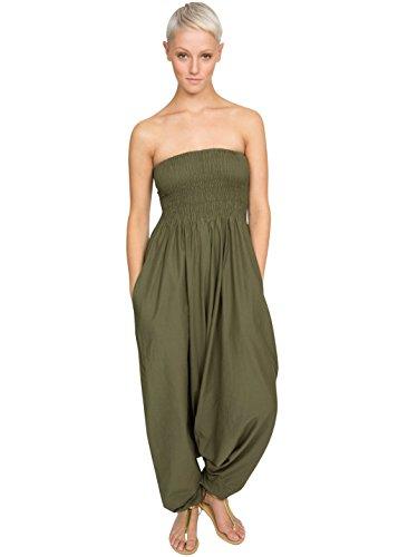 Cotton Maxi Harem Pants Romper Jumpsuit Olive,Olive,One Size