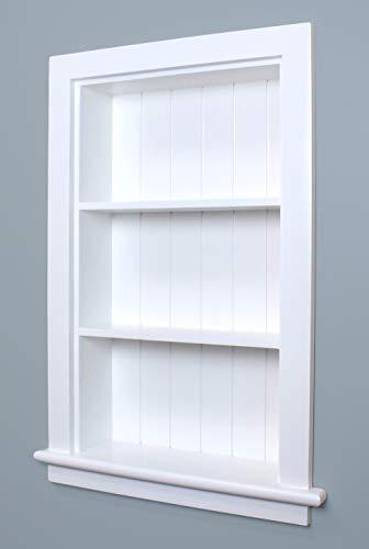 Fox Hollow Furnishings 14x24 Aiden Wall Niche (White w/Beadboard Back)