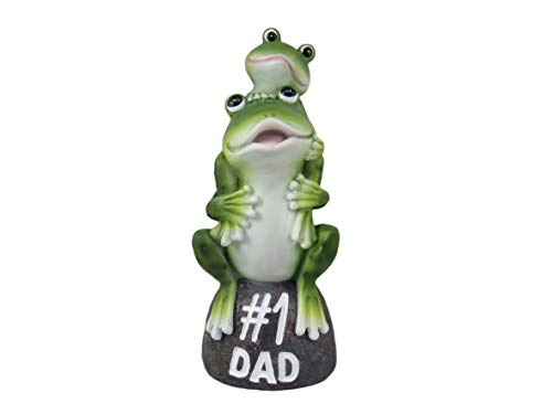 """DWK Hop on Pop (#1 Dad) Outdoor Adorable Father and Baby Frog Statue 