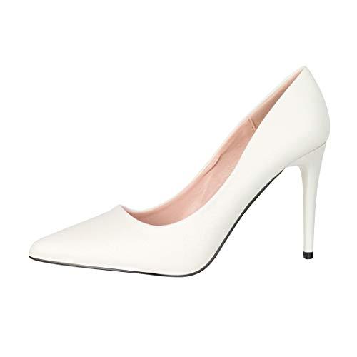 Elara Damen Pumps Spitz High Heels Stiletto Chunkyrayan B0-110 White-39