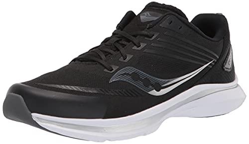 Saucony unisex child Kinvara 12 Sneaker, Black/White, 3 Big Kid US