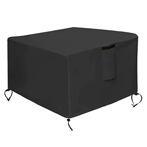 420D Outdoor Square Stove Fire Pit Cover Rainproof Waterproof Dust Cover for Terrace with Pu Coating, Rainproof and Windproof All-Season Protection Table Cover-Black (Size : 50X50X25 in)