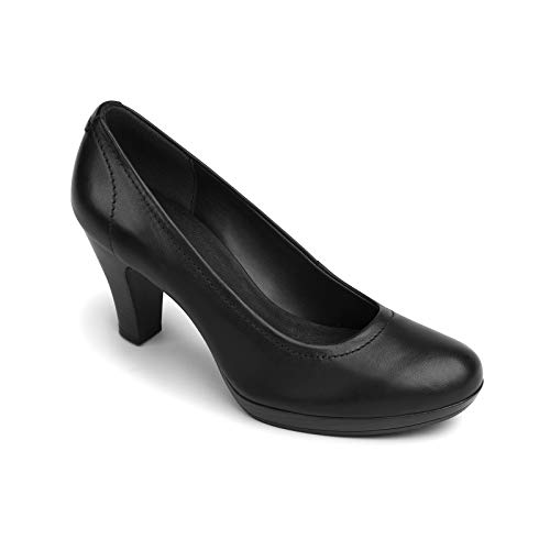 Flexi Women's Black Leather Pumps Dress High Heels Shoe Office Business Casual | 34301 (6, Black)
