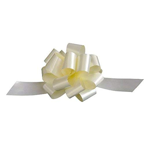 "Ivory Decorative Gift Pull Bows - 5"" Wide, Set of 10, Bows for Gifts, Easter Gift Basket Decorations, Wedding Favors Decor"
