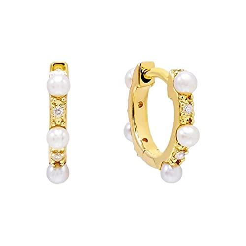 Estilo joyería fina Pendientes de aro de plata de ley 925 auténtica para mujer Pendiente de perforación de circonita de cristaloro 5