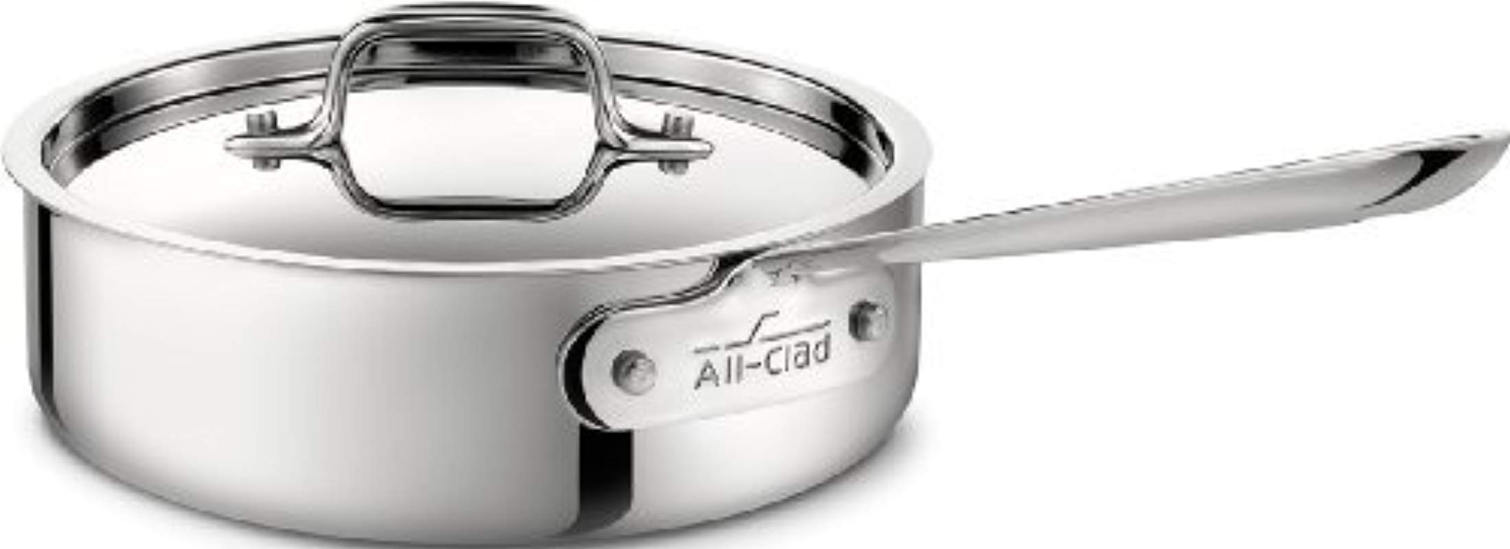 All Clad 4402 Stainless Steel Tri Ply Bonded Dishwasher Safe Saute Pan With Lid Cookware 2 Quart Silver By All Clad