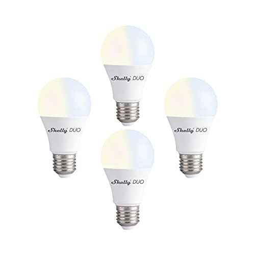 Shelly Duo WiFi Smart Bulb Warm Light E26 800lm Cloud MQTT Enabled 2500k to 6500K Voice Control, iOS and Android Application (4 Pack)