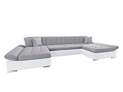Mirjan24 Alia Sofá esquinero con reposabrazos ajustables, 2 espacios de almacenamiento, función de cama, en forma de U, artículo nuevo de diseño