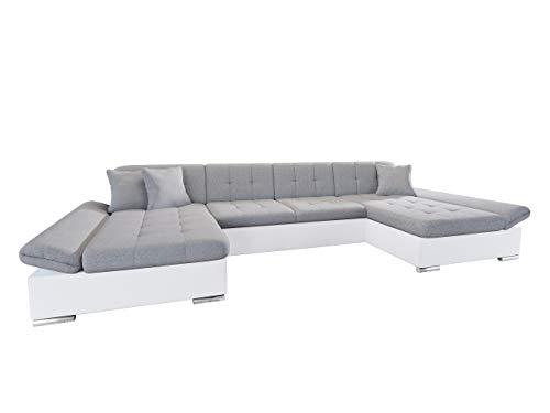 Mirjan24 Ecksofa Alia mit Regulierbare Armlehnen, 2 Bettkasten und Schlaffunktion, U-Form Eckcouch vom Hersteller, Sofa Couch Wohnlandschaft (Soft 017 + Bristol 2460)