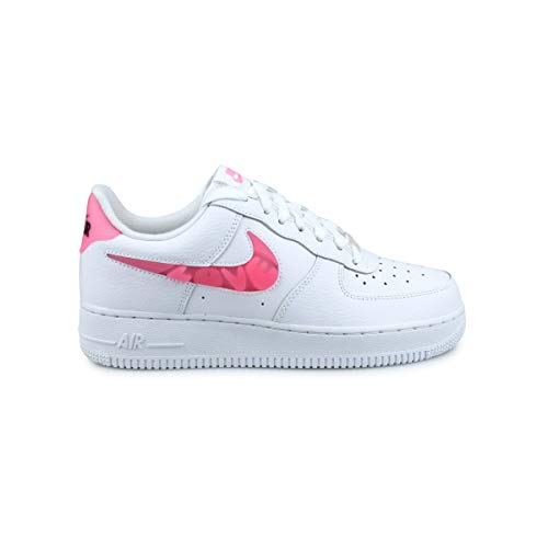 Nike Damen WMNS AIR Force 1 '07 SE Basketballschuh, White Sunset Pulse Black Clear, 41 EU