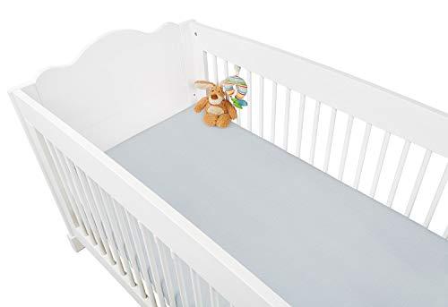 Pinolino 540002-8 - Spannbetttuch für Kinderbetten, Jersey, grau
