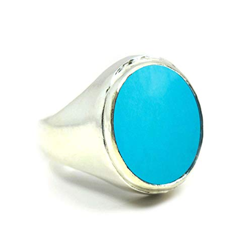 Jewelryonclick Natural Turquoise Silver Bold Ring for Men 5 Ct Gemstones Oval Astrology Birthstone Size H