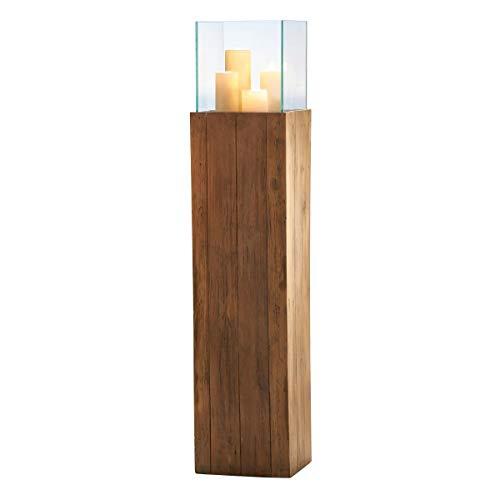 Pureday Bodenwindlicht Woody - Windlichtsäule aus Holz - Natur - groß