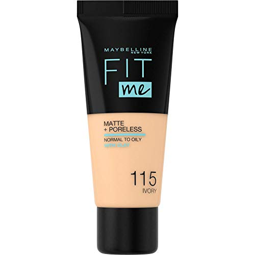 Maybelline New York Make Up, Fit Me! Matte + Poreless Foundation, Mattierend und porenverfeinernd, Alle Hauttypen, Nr. 115 Ivory, 30 ml
