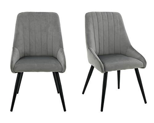 HNNHOME - Juego de 2 sillas de comedor de cocina con respaldo alto para salón y recepción (gris, terciopelo)