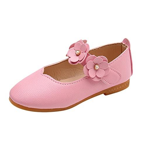 Zapatos de bebé para niñas, con flores sólidas, para estudiantes, baile suave, de princesa, zapatos de piel suave, zapatos de aprendizaje, niños pequeños, niños de 1 a 11 años de edad, Rosa., 23