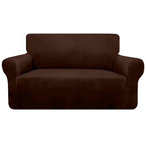Granbest 1 funda gruesa de terciopelo ultrasuave para sofá, alta elasticidad, antideslizante, protección para sofá Loveseat, protección de muebles para gatos, perros y mascotas (2 plazas, chocolate)