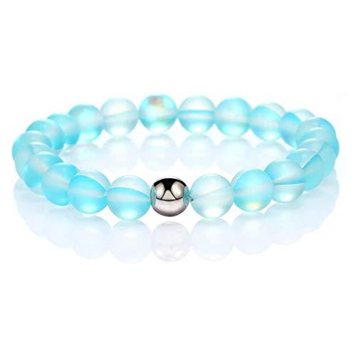VVXXMO 8 mm rund mystisk regnbågsglas pärlor, stretch matt månsten pärlor, elastiskt armband armband smycken