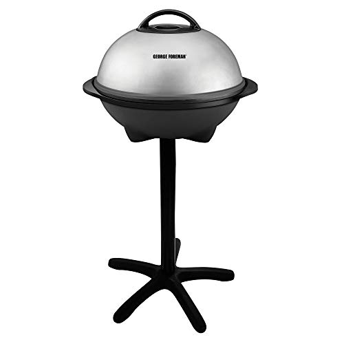 George Foreman, Silver, 12+ Servings Upto 15 Indoor/Outdoor Electric Grill, GGR50B, REGULAR
