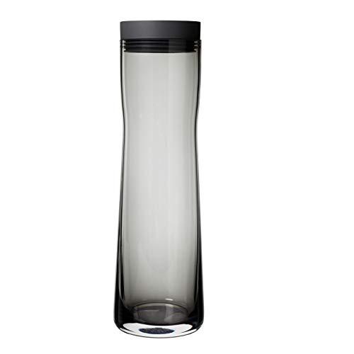 blomus -SPLASH- Wasserkaraffe aus Rauchglas, Dark Gray, 1 Liter Fassungsvermögen, Silikon / Edelstahldeckel, einfache Handhabung, exklusives Design (H / B / T: 29,5 x 9 x 9 cm, Dark Gray, 63807)