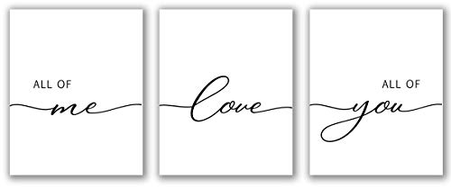 "All Of Me Loves All Of You Printable - 8"" x 10"" - Unframed, Minimalist Art, Wall Art Print Set, Bedroom Print Set Of 3, Black & White Home Decor, Print for Bedroom, Living Room Print"