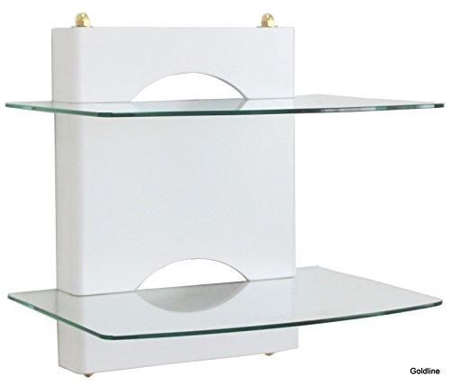 Goldline Support mural pour box Sky Box avec finition blanche brillante sur bois et 2 étagères flottantes en verre Blanc