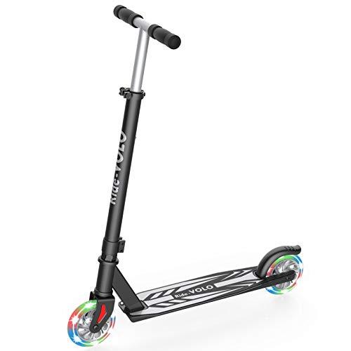 RideVOLO K05 Kick Scooter PU Flash Wheels 3 Adjustable Heights Lightweight Aluminum Alloy FrameOnly 519b ABEC4 Wheel Bearings Max Load 110lbsGray